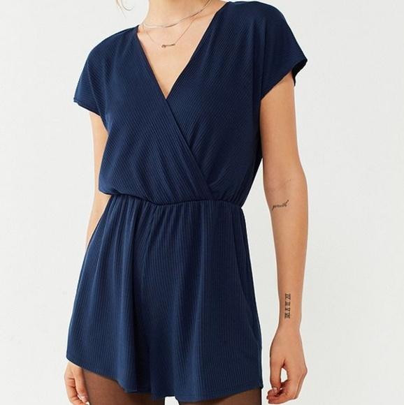 eb113e5c4d3 Ecote Dresses   Skirts - UO Ecote Blue Ribbed Surplice Romper